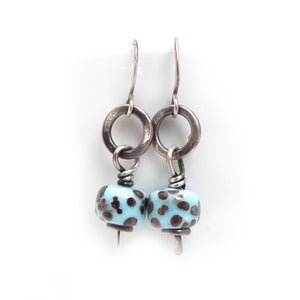 Speckled Turquoise Lampwork Glass and Sterling Silver Drop Earrings