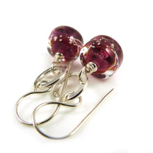 Cranberry Pink Lampwork Glass and Silver Drop Earrings