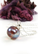 tawny brown metallic glass bead pendant with sterling silver chain