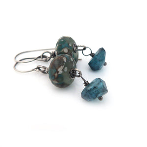 Grey-Green Lampwork Glass, London Blue Quartz and Sterling Silver Drop Earrings ~ Victoria