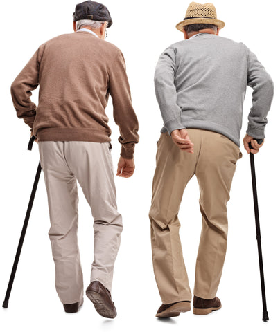 Two senior men walking with walking sticks