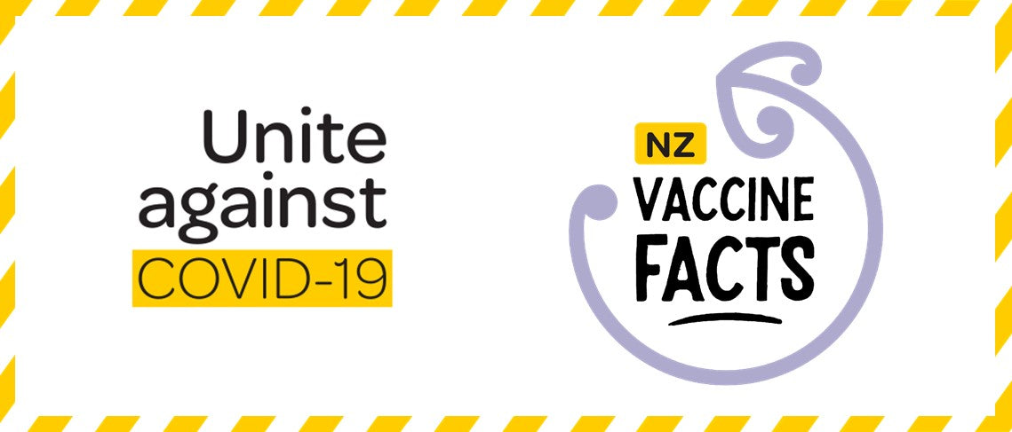unite against covid 19 logo and NZ vaccine facts logo
