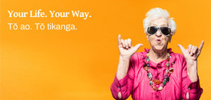 Text on the top left saying Your Life. Your Way. With a grandma signing hang loose on the right.