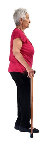 Woman standing holding a walking stick