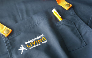 An apron with the Independent Living Logo