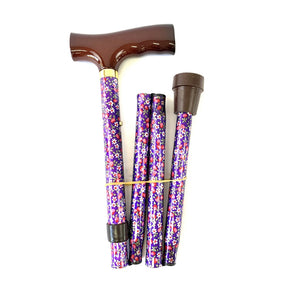 Folding Walking Stick with T Handle Lilac Daisy