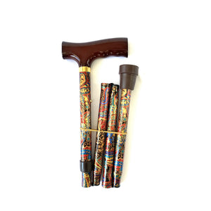 Folding Walking Stick with T Handle Paisley Red
