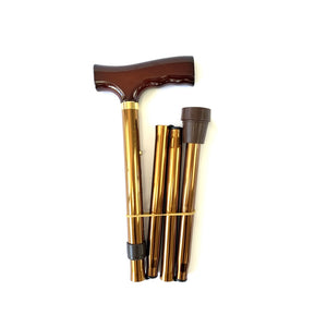 Folding Walking Stick with T Handle Bronze