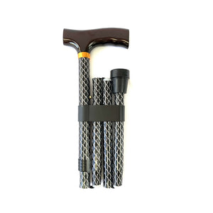 Folding Walking Stick with T Handle Mesh Black