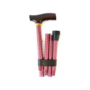 Folding Walking Stick with T Handle Mesh Red