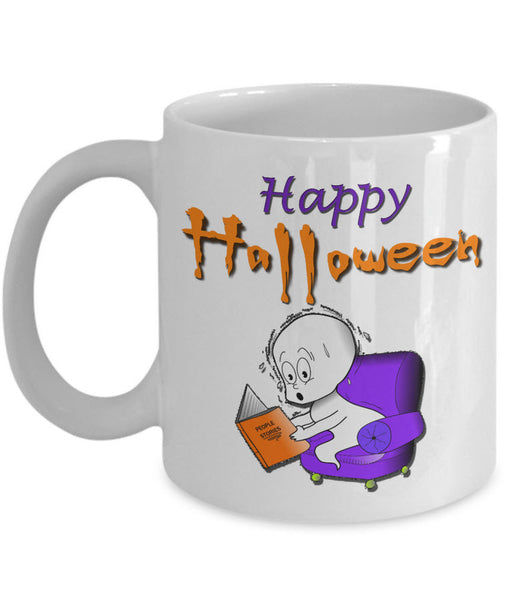 "Halloween Coffee Mug- Funny Halloween Gift For Adults - Cute Ghost Mug - ""Happy Halloween"""