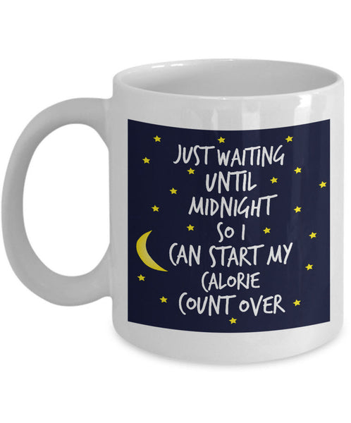 "Weight Loss Mug - Funny Diet Themed Gift Idea For Men Or Women - ""Just Waiting Until Midnight"""