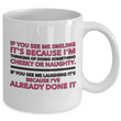 "Adult Humor Coffee Mug - Funny Coffee Mug For Women Or Men - ""If You See Me Smiling"""