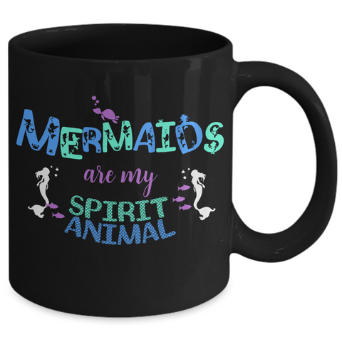 Mermaid Coffee Mug - Black 11oz Ceramic Mermaids Gift For Women -
