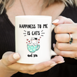 Cat Tea Mug - Cat Lovers Gift Idea - Happiness To Me Is Cats And Tea