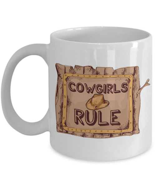 "Cowgirl Coffee Mug - Unique And Funny Gift For Horse Lovers - ""Cowgirls Rule"""