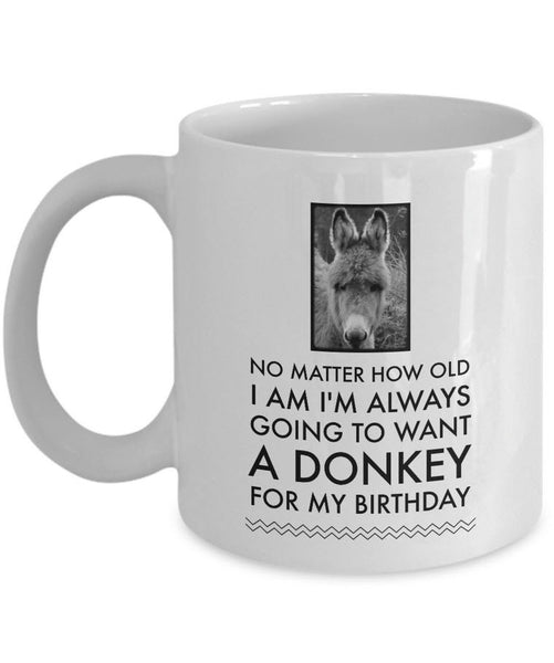 "Donkey Coffee Mug - Birthday Gift For Donkey Lovers - ""No Matter How Old I Am I'm Always Going To Want A Donkey For My Birthday"""