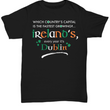 "Irish Shirts For Men  - Green Irish Shirt - Funny St Patricks Day Gift - ""Which Country's Capital?"""