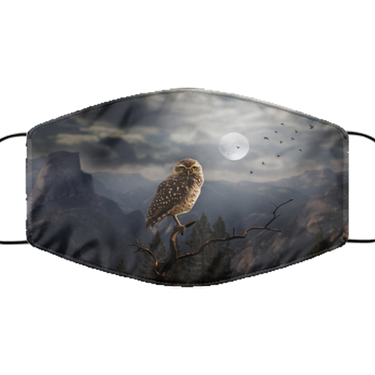 Owl Face Mask - Washable And Reusable Lightweight Covid Mask For Women Or Men - Adult Size Pandemic Owl Mask For Him Or Her