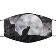 Black Cat Halloween Face Mask- Washable And Reusable 2-Layered Covid Mask For Women Or Men - Adult Size Breathable Pandemic Mask For Him/Her