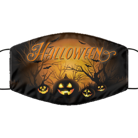 Halloween Pumpkin Face Mask - Washable Reusable Lightweight Covid Mask For Women Or Men - Adult Size Pumpkin Pandemic Mask For Him Or Her