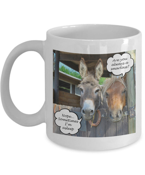 "Donkey Coffee Mug - Funny Gift For Donkey Lovers - Adult Humor Mug - ""Are You Always A Smartass"""