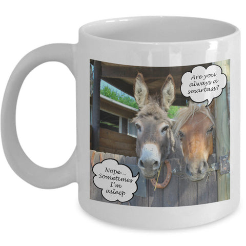 Donkey Mug - -Black Or White11oz Or 15oz Ceramic Donkey Coffee Mug - Gift For Donkey Lovers - Donkey Products - Donkey Cup - Donkey Gifts -