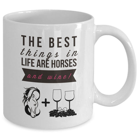 Wine Coffee Mug - Funny Wine Lovers Or Horse Lovers Gift - Wine Mugs For Women -