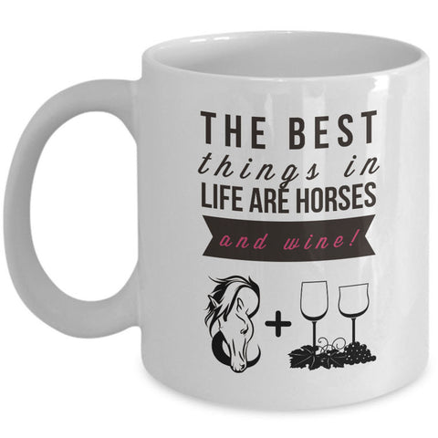 Wine Coffee Mug - Funny Wine & Horse Lovers Gift - Mugs For Women -