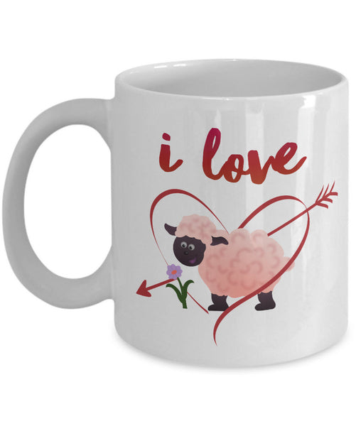 "Valentines Day Or Anniversary Coffee Mug - Love Quote Mug - Anniversary Gift Idea -""I Love Ewe"""