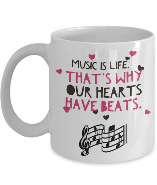 "Music Coffee Mug - Music Lover Gift - Music Teacher Gift - Music Notes Mug - ""Music Is Life"""