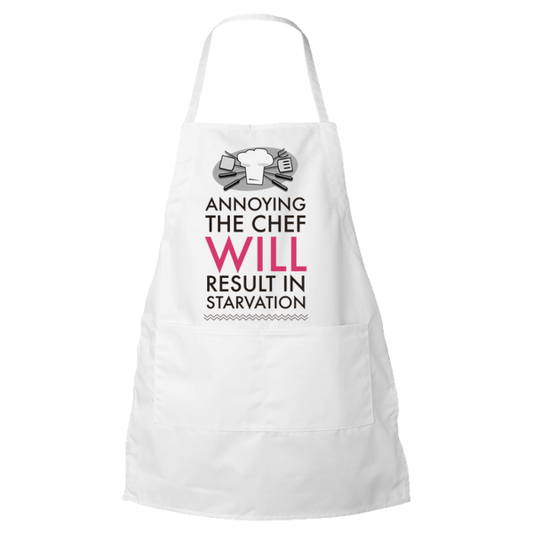 "Chef Apron - Funny Gift For Chefs / Cooks - Mother's Day Or Father's Day Gift - ""Annoying The Chef"""