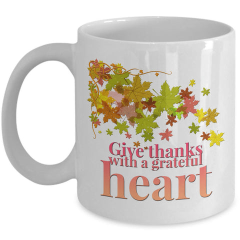 Thanksgiving Coffee Mug - Autumn Leaf Mug - Grateful Mug -