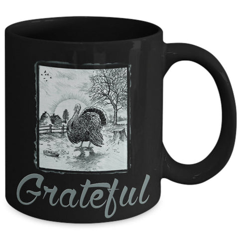 Thanksgiving Coffee Mug - Grateful Mug - Vintage Turkey Mug - Thanksgiving Gift Idea -