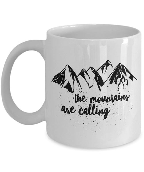 "Mountain Climbing Coffee Mug - Hiking Mountaineering Wilderness Mug - ""The Mountains Are Calling"""