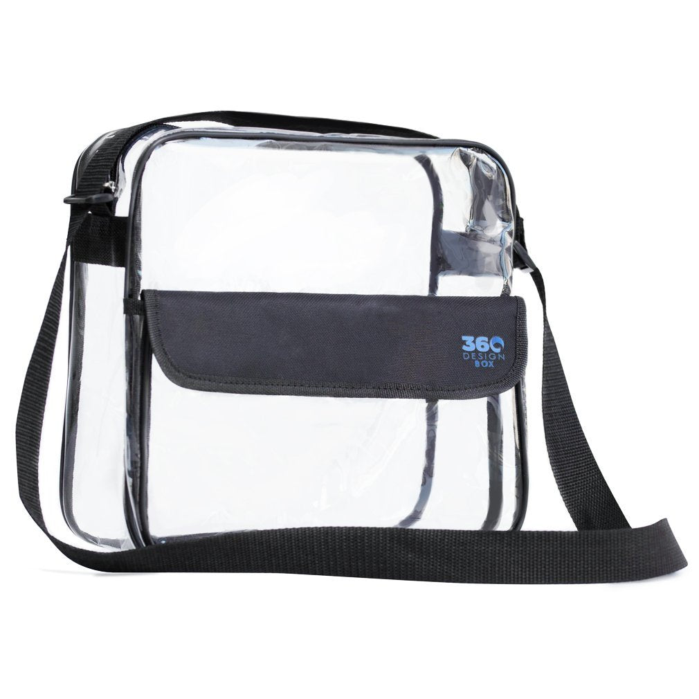 Clear Cross-Body Messenger Bag Available in 2 Sizes - Stadium Approved Clear Bag