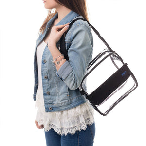 "8"" Clear Cross-Body Messenger Bag Available in 3 Colors - Stadium Approved Clear Bag"