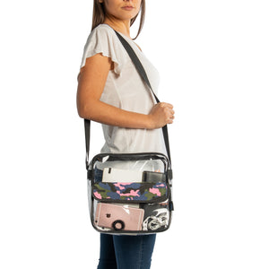 Camo print Clear Messenger Bag, Stadium Approved See-Through Purse
