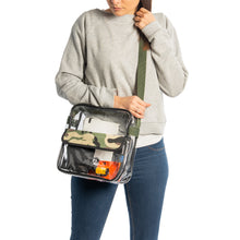 "Load image into Gallery viewer, 10"" Clear Messenger Bag, Stadium Approved See-Through Purse Available in 3 Colors"