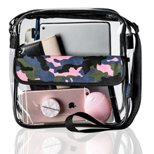 Load image into Gallery viewer, Camo print Clear Messenger Bag, Stadium Approved See-Through Purse