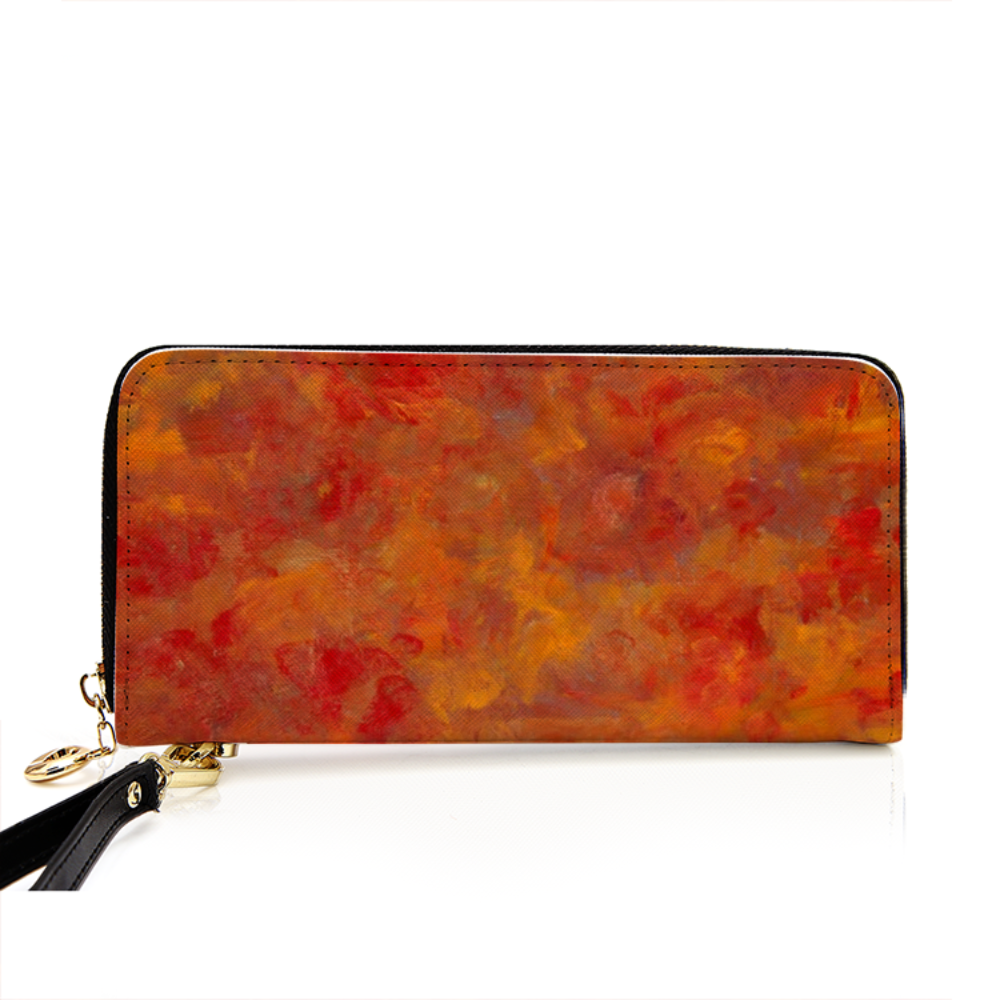 LAVA FLOW Men and Women's PU Leather Wallet around Long Clutch Purse