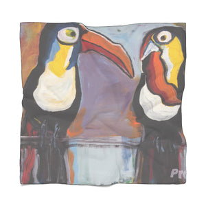 "TOUCANS Poly VOILE  Scarf    25"" x  25"""