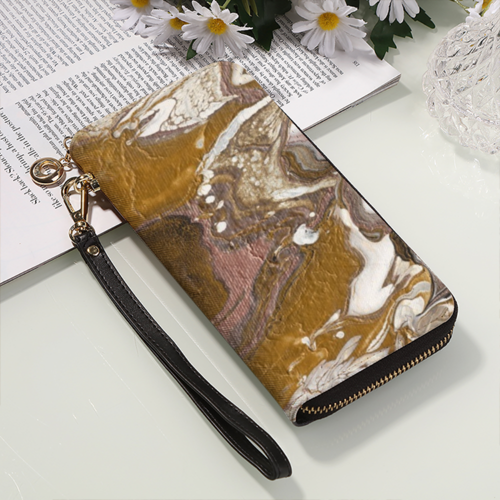 GOLD RUSH   Leather Wallet / Long Clutch Purse