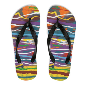 MARDI GRAS  Unisex Flip-Flops  SIZES  SMALL - LARGE