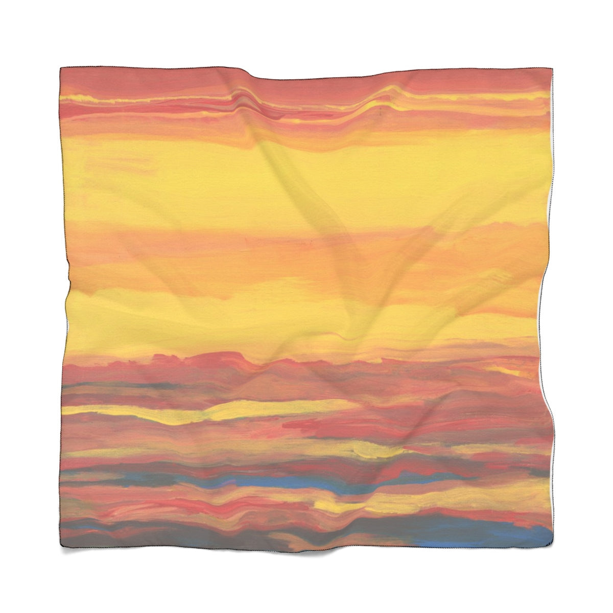 "SUNRISE SUNSET Poly VOILE Scarf  25"" x 25"""