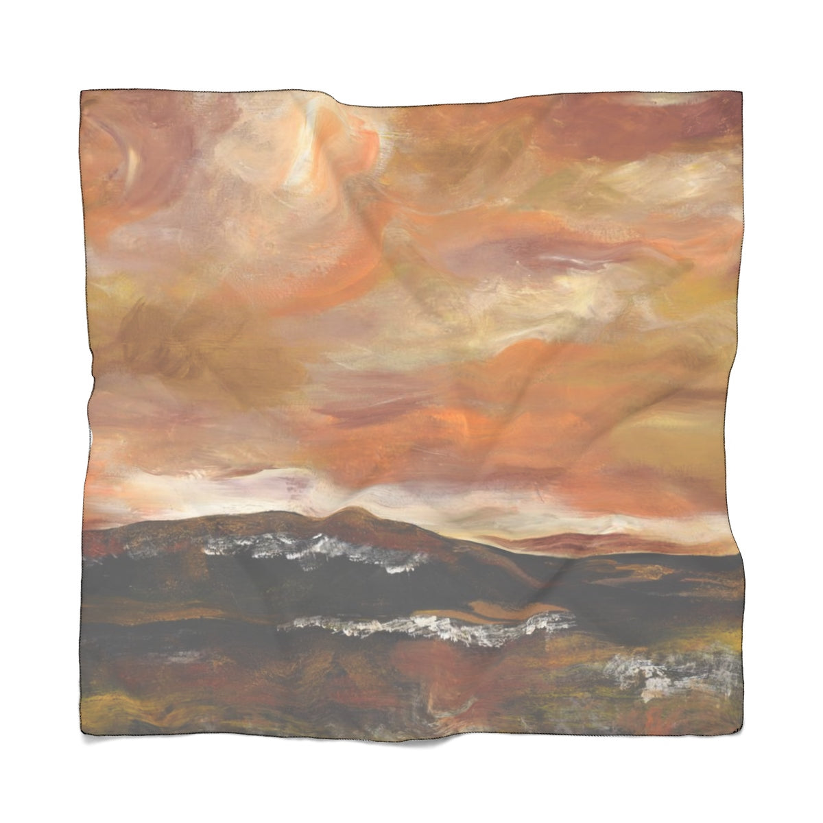 "GOLDEN VALLEY Poly CHIFFON Scarf  25"" x 25"""