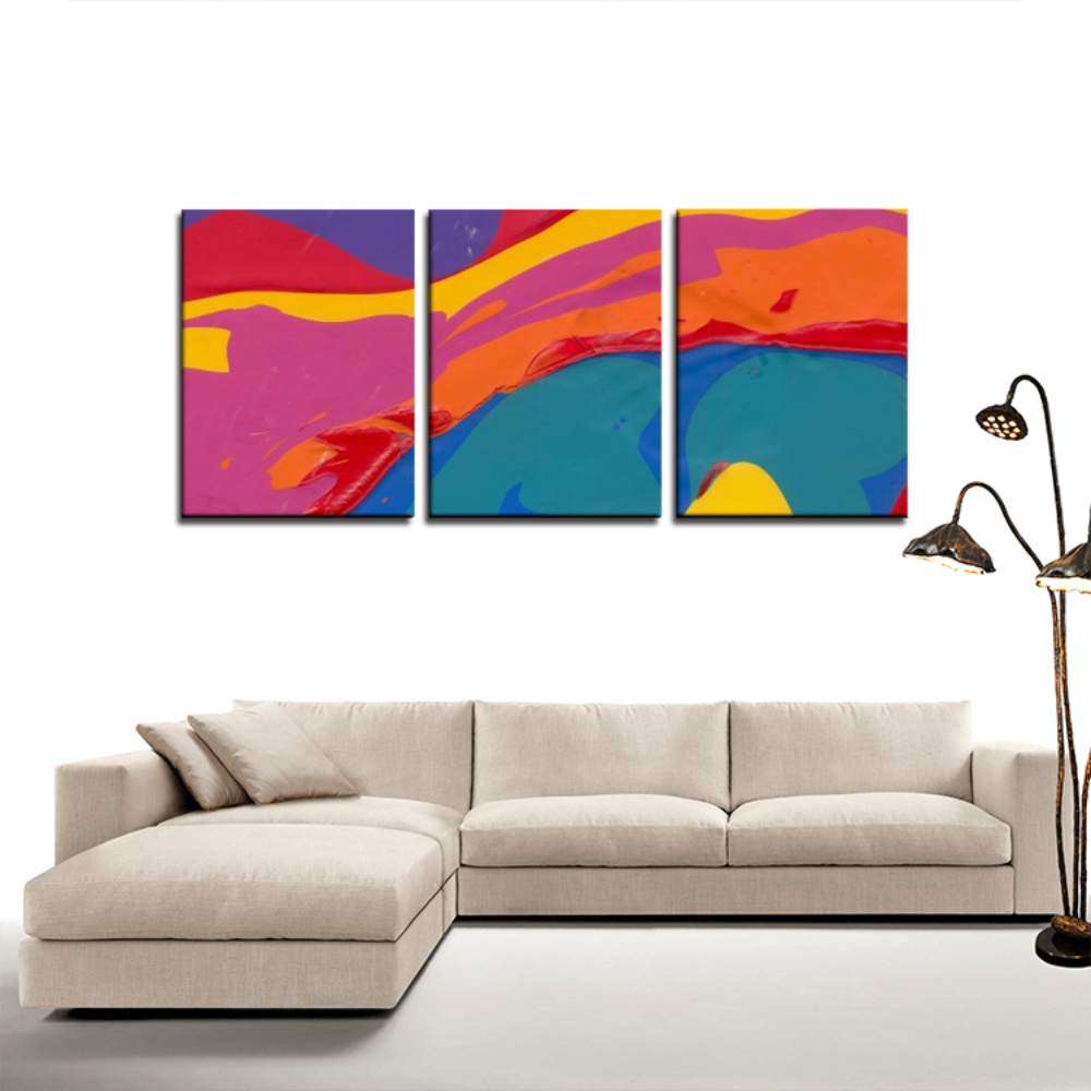 COLOR MERGE 3 Panels Canvas Prints Wall Art for Wall Decorations