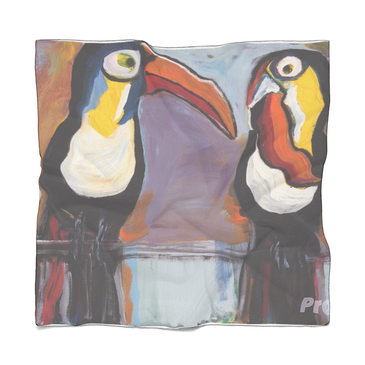 "TOUCANS Poly VOILE  Scarf  50"" x  50"""