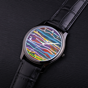 MARDI GRAS  30 Meters Waterproof Quartz Fashion Watch With Black Genuine Leather Band