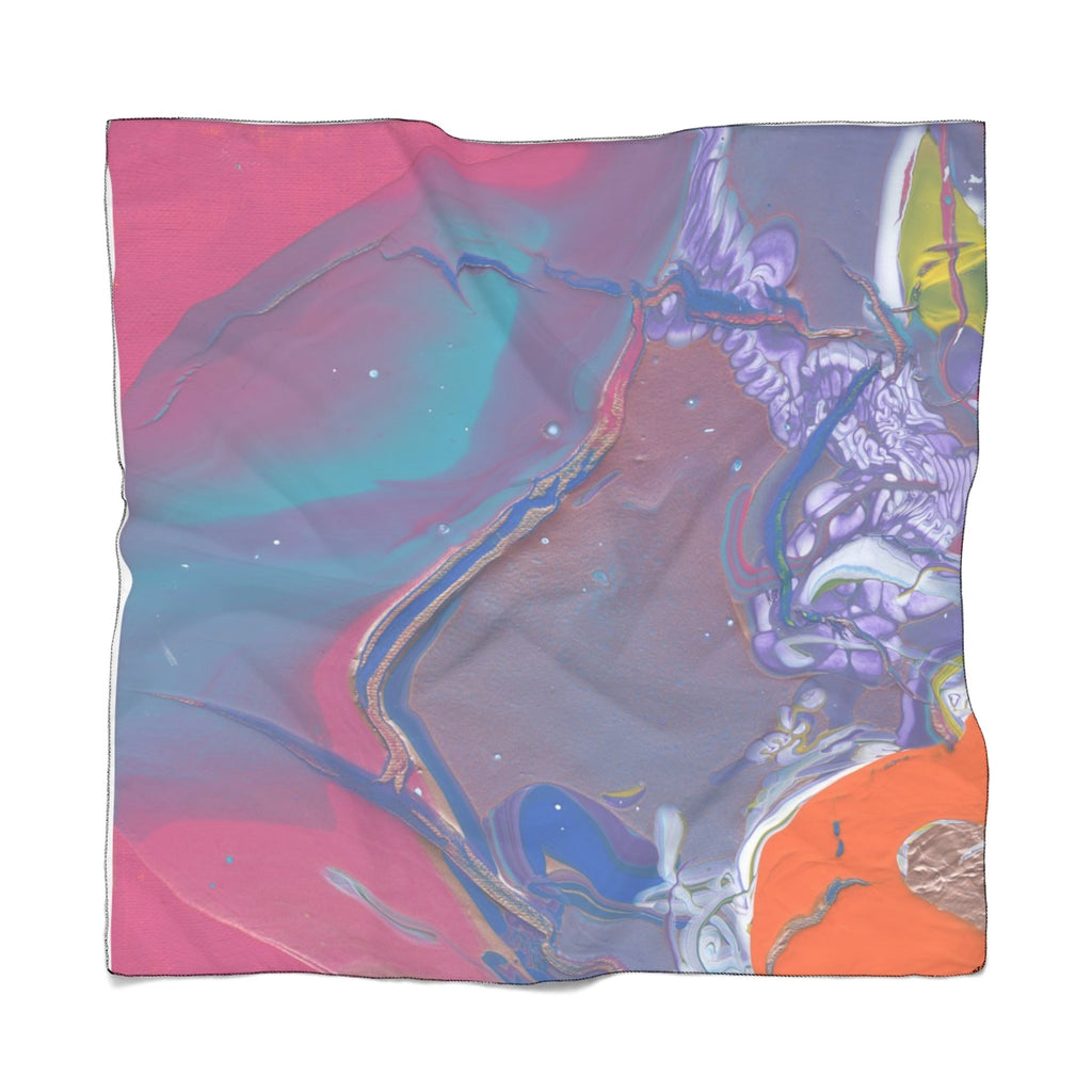"UNDER WATER LIFE 2 Poly VOILE  Scarf  25"" x 25"""